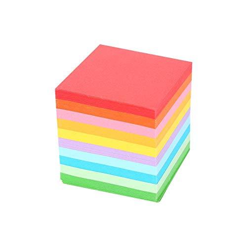 Aufee Papel de Origami, 520 pzas 10 Colores Papel de Plegado Cuadrado Hojas de artesanía de grúa Origami de Doble Cara de Colores 5x5 cm