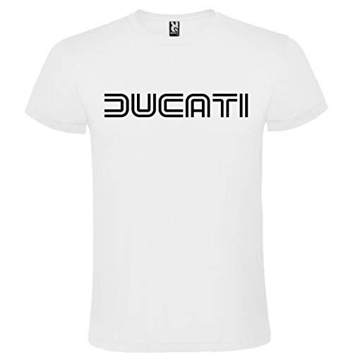 ROLY Camiseta Blanca con Logotipo de Ducati Hombre 100% Algodón Tallas S M L XL XXL Mangas Cortas (XL)