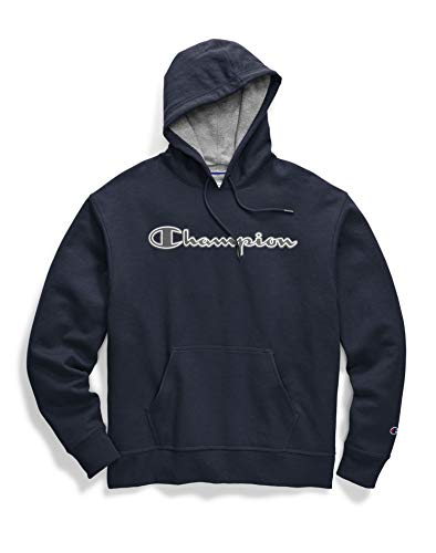 Champion Men's Powerblend Applique Hoodie, Navy, Large