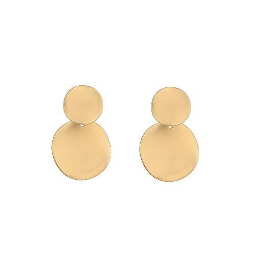 s925 Silver Stud Earrings for Women,Golden round fashion vintage earrings