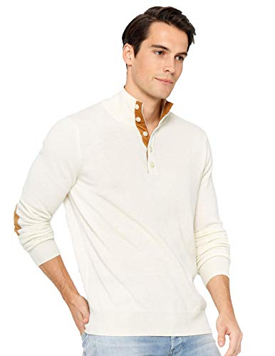 State Cashmere Quarter-Button Mock Neck Sweater 100% Pure Cashmere Long Sleeve Polo Collar Pullover (Medium, Ivory)