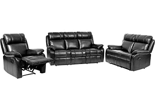 FDW Recliner Sofa Set Sectional Sofa for Living Room Furniture PU Leather Sofa and Couch Manual Reclining Sofa Recliner Chair, Love Seat, and Sofa (3seat) Home (Black)