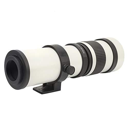 望遠レンズ、420‑800mm F8.3‑16手動集束ズーム望遠レンズカメラレンズT2マウント(Canon EF-Sマウントカメラ用)(白い)