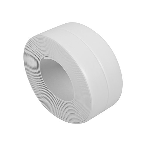 Tiras autoadhesivas Cinta de sellado Cinta, Cocina junta cinta baño pared de sellado cinta impermeable longitud Ribete autoadhesivo Bañera y pared tira de junta(38mm*3.2M-White)