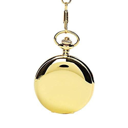 Water cup Reloj de Bolsillo Vintage Reloj de Bolsillo Reloj de Bolsillo de Cuarzo Liso Reloj de Bolsillo Vintage Pulsera clásica para Hombres y Mujeres Cuarzo Vintage (Color: Latón, Tamaño: