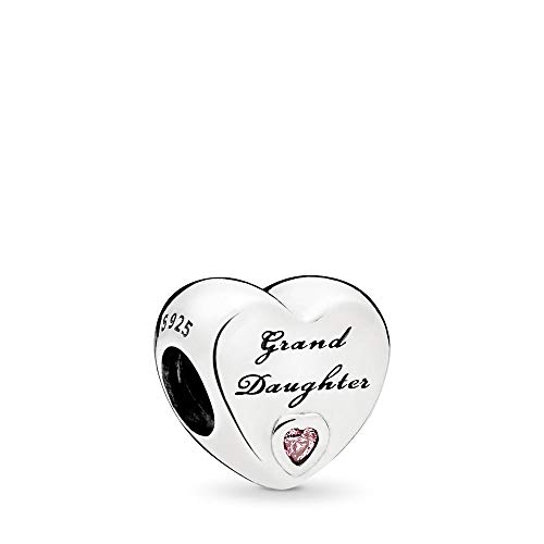 MiniJewelry Granddaughter Love Heart Charm for Bracelets Family Sterling Silver Charm for Women Birthday Gift, Pink CZ