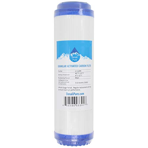 16-Pack Replacement for Crystal Quest CQE-RO-00109 Granular Activated Carbon Filter - Universal 10-inch Cartridge Compatible with Crystal Quest Thunder 1000M - Denali Pure Brand