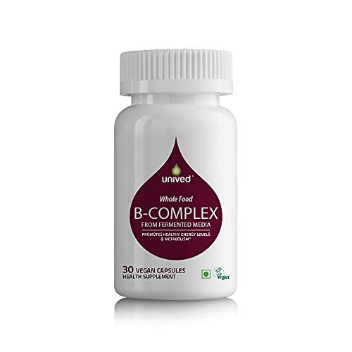Unived Wholefood B-Complex  Raw B-Vitamins from Ferment Media   100% Natural & Vegan   30 Capsules