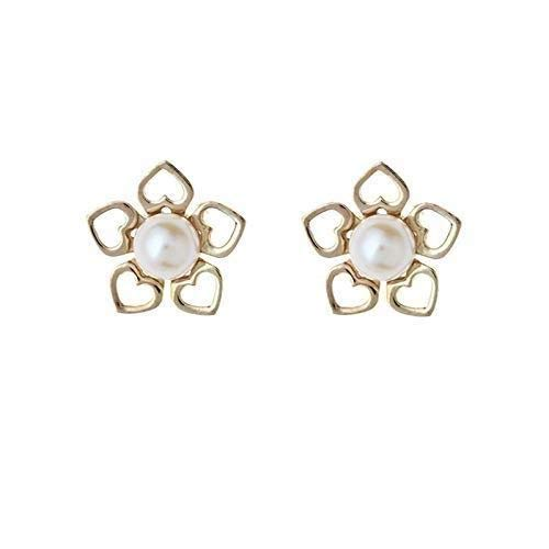 9ct Yellow Gold heart petal flower, 3.5-4mm cultured pearl Andralok stud earrings/Gift box