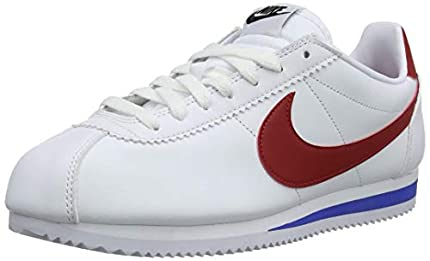 Nike Classic Cortez Leather, Zapatillas Mujer, Blanco (White/Varsity Red-Varsity Royal 103), 38.5 EU