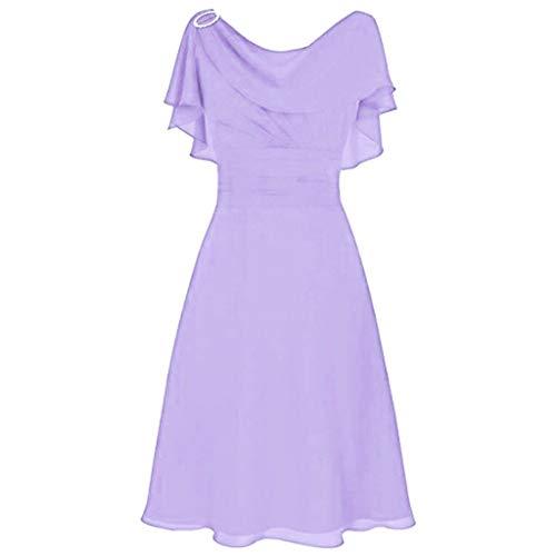 Mingyun Women's Off Shoulder Wedding Bridesmaid Dresses Chiffon Short Sleeve Cocatail Dress Backless High Waist Evening Dress Purple