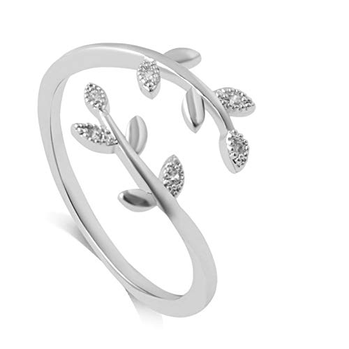Yagerod Grow Through What You Go Through Adjustable Leaf Ring Open Ring, Adjustable Branch Ring Jewelry Gift for Mother Women Girl Silver