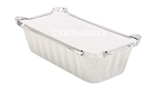 KitchenDance Disposable 2 Pound Closable Loaf Pan w/Colored Lids #1850L (Silver, 50)