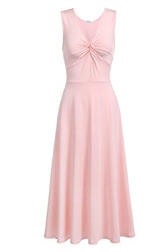 Meaneor Dames Elegant shirt jurk zonder mouwen V-hals zomerjurk avondjurk feestelijk swing wikkeljurk kuitlengte