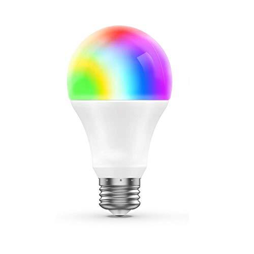 WiFi-Lampe E27 Worke mit Alexa, Google Home und IFTTT RC LED Smart Sunrise Wake-Up Lights RGB Energiesparlampe 6,5 W (entspricht 60 W)