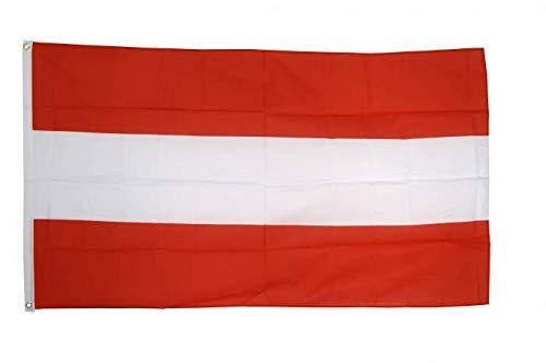 Flaggenfritze Flagge Österreich, österreichische Fahne hissfertig mit Ösen 90 x 150 cm+ gratis Sticker