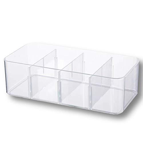 Alyssa Caja de Almacenamiento para Cajones, Caja Divisoria de Armario para Organizar la Ropa Interior, Sujetadores, Calcetines, Corbatas y Pañuelos, Bandeja de Maquillaje (4 Rejillas)