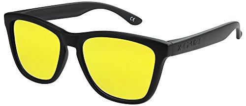 X-CRUZE 9-012 Gafas de sol Nerd polarizadas estilo Retro Vintage Unisex Caballero Dama Hombre Mujer Gafas - negro mate/amarillo tipo espejo