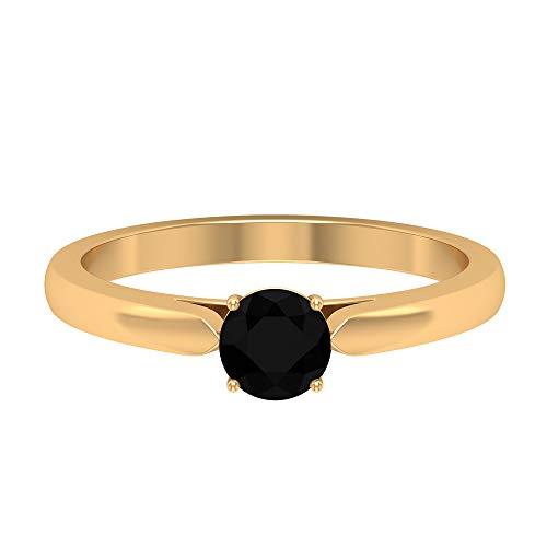 Anillo solitario de diamante negro de 3/4 CT creado en laboratorio, 14K Oro amarillo, Size:EU 65