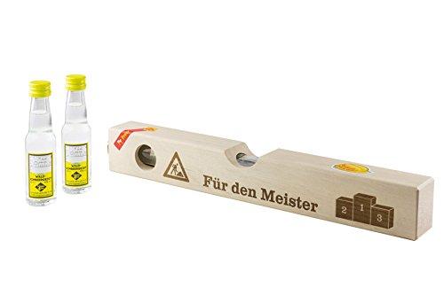 """Weisenbach - Wasserwaage (Holz, groß) -\""""für den Meister\"""" - 2 x 20 ml Waldhimbeergeist"""