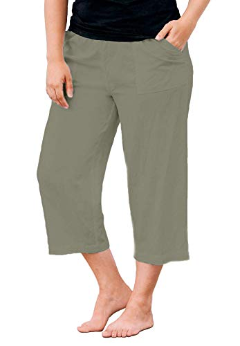 ellos Women's Plus Size Linen Blend Drawstring Capris - 22, Olive Grey