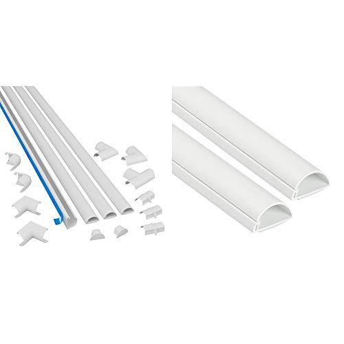 D-Line Kits de Goulottes | 3015KIT001 | Cachez et Protégez Les Câbles Facilement | Blanc & 30x15mm Moulure Décorative en Demi-Cercle |1D3015W-2PK | Goulotte...