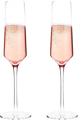 KOIOS Bella Vino Classy Champagne Flutes - Hand Blown Crystal Champagne Glasses Made from 100% Lead Free Premium Crystal Glass, Perfect for Any Occasion,Great Gift, 10', 7 Oz, Set of 2, Clear