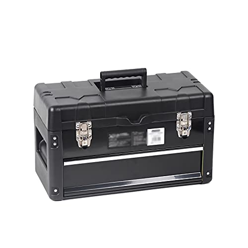Caja de herramientas Caja de herramientas de plástico con cajón accesorio y mango de agarre Cierre seguro de cierre en forma de ajuste para los organizadores y almacenamiento de empleo para el hogar C