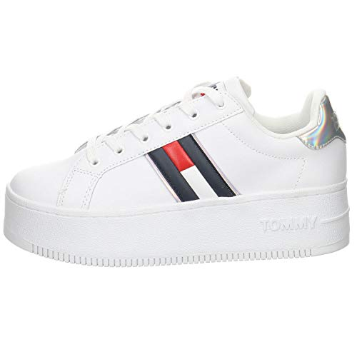 Tommy Jeans Iridescent Iconic Sneaker, Zapatilla Mujer, Blanco, 41 EU