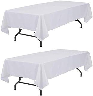 سفره سفید Wealuxe 60x126 - روکش میز مستطیلی 8 فوت ، 2 بسته