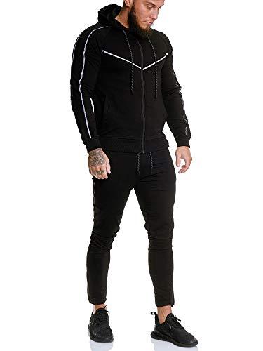 OneRedox | Herren Trainingsanzug | Reflektor Jogginganzug | Sportanzug | Jogging Anzug | Hoodie-Sporthose | Jogging-Anzug | Trainings-Anzug | Jogging-Hose | Modell JG-13106 (M, Schwarz)