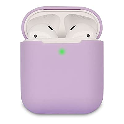 Airpods Case Cover Compatible with AirPods 2, KOKOKA Silicone Shockproof Airpods Case Cover [Front LED Visible][Support Wireless Charging]-Lavender by Kokoka