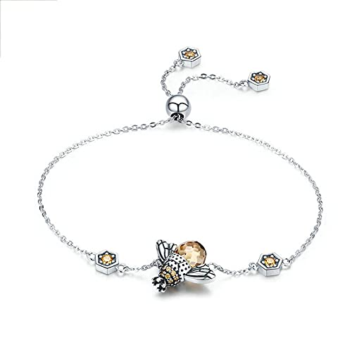Pulsera Abejorro Plata Ley 925 con Diamantes Y Circonita con Personalidad Pulsera Deslizante Bola Ajustable Aniversario Cumpleaños Madre Niña Regalo Joyería Creativa