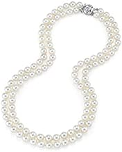 THE PEARL SOURCE 14K Gold 7-8mm AAA Quality Double Strand White Freshwater Cultured Pearl Necklace for Women in 17-18