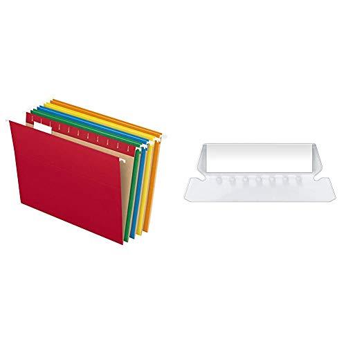 Pendaflex Hanging File Folders, Letter Size, Assorted Colors, 1/5-Cut Adjustable Tabs, 25 Per Box (81663) & Insertable Plastic Tabs Hanging Folder Tabs, 2%22, Clear, 25 Tabs and Inserts per Pack (42)