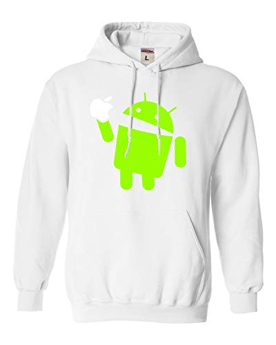 Small White Adult Android Eats Apple Funny Sweatshirt Hoodie