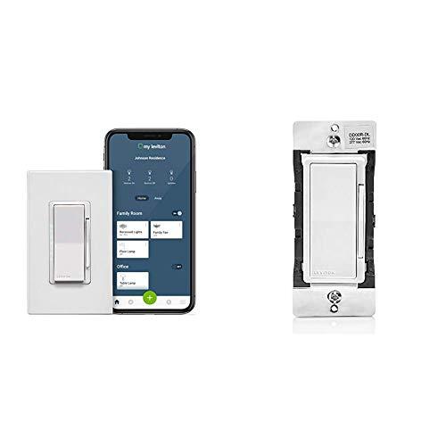 Leviton DW6HD-1BZ Decora Smart Wi-Fi 600W Universal LED/Incandescent Dimmer, 1-Pack, White & DD00R-DLZ Dual Voltage 120/277VAC, 60Hz Decora Companion Dimmer for Multi-Location dimming
