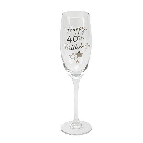 40th Birthday Stars Champagne Flute Glass Gif