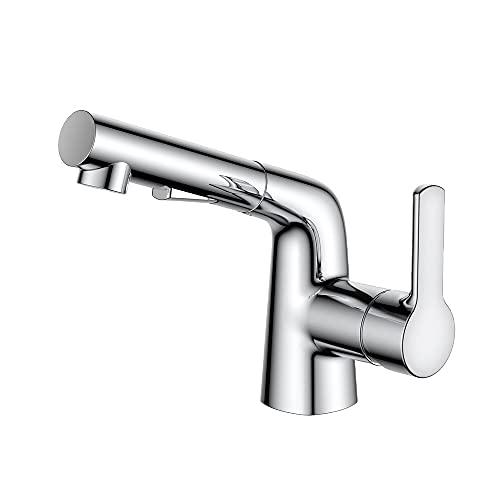 Grifo del lavabo del baño con dos funciones Pull Out Pulverizador, grifo de lavabo giratorio, grifo de una palanca de una sola palanca, grifo mezclador de cuenca de un orificio, lavabo cromado, lavabo