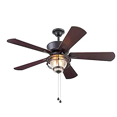 Harbor Breeze Merrimack II 52-in Matte Bronze LED Indoor/Outdoor Ceiling Fan with Light Kit (5-Blade)