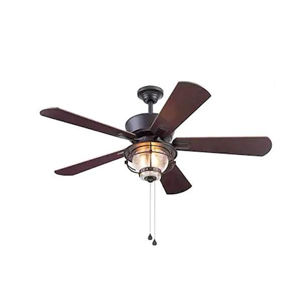 Harbor Breeze Merrimack II 52-in Matte Bronze LED Indoor/Outdoor Ceiling Fan with...