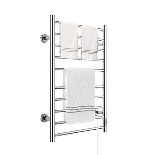 KEY TEK Heated Towel Warmer for Bathroom, Wall Mounted Hot Towel Racks with Timer, Stainless Steel Heated Towel Drying Rack, Plug-in/Hardwired… (Silver, 10bars)