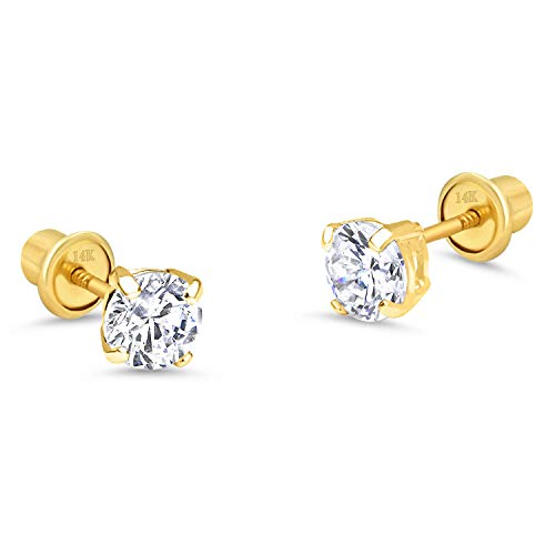 14k Yellow Gold 5mm Basket Round Solitaire Cubic Zirconia Children Screw Back Baby Girls Earrings