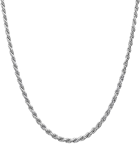 Savlano 925 Sterling Silver 2mm Solid Italian Rope Diamond Cut Twist Link Chain Necklace With Gift Box For Men & Women - Made in Italy (14, 2mm)