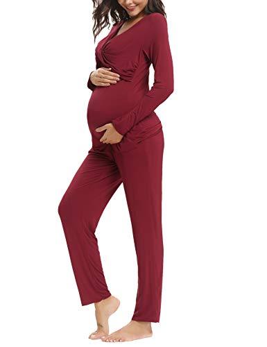 Aibrou Damen Stillpyjama Umstandspyjama Set Stillnachthemd Baumwolle Zweiteilige Still-Schlafanzug (Uni-Weinrot, Small)