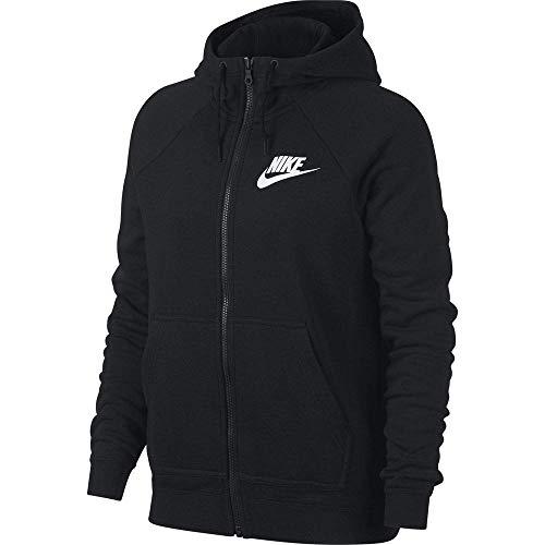 Nike Damen Hoodie Full-Zip Sportswear Rally, Black/Black/White, L, 930909-010