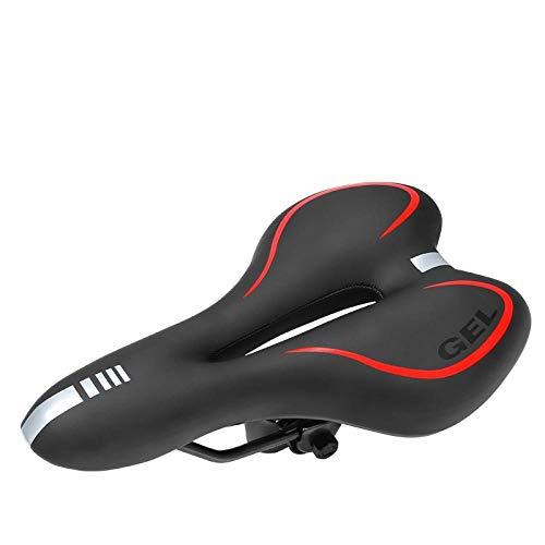Fahrradsitzkissen ist weich und bequem verdickt, um erwachsene Männer und Frauen Mountainbike Sattelkissen universell wasserdicht und atmungsaktiv-Silikonrot zu erhöhen
