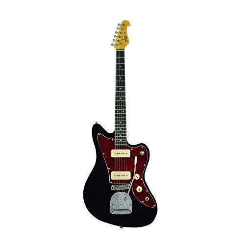 CNZ Audio JM Electric Guitar Black, 3-Ply Tortoise Pickguard, Maple Neck, Twin P-90 Pickups, Pure Tone Awesomeness