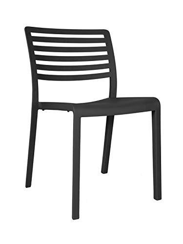 resol Set de 2 sillas de diseño Lama para Interior, Exterior, jardín - Color Gris Oscuro