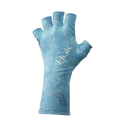 Huk Men's Current Camo Sun Gloves | Quick-Drying Fingerless Fishing Gloves With UPF 30+ Sun Protection, Boca Grande, L/XL